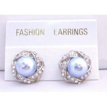 ERC524  Stud Post Earrings Lite Blue Pearls Swarovski Pearls w/ Cubic Zircon Pierced Earrings