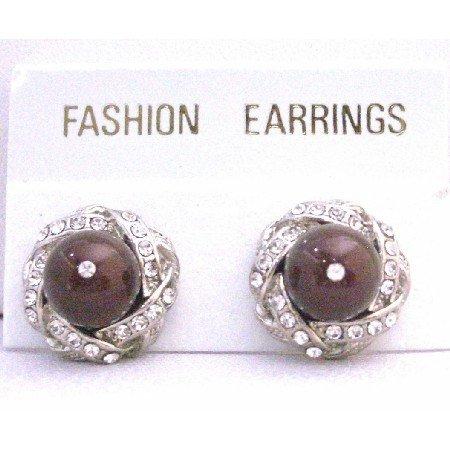 ERC523  Maroon Swarovski Pearls Stud Earrings Surrounded w/ Cubic Zircon Pierced Earrings