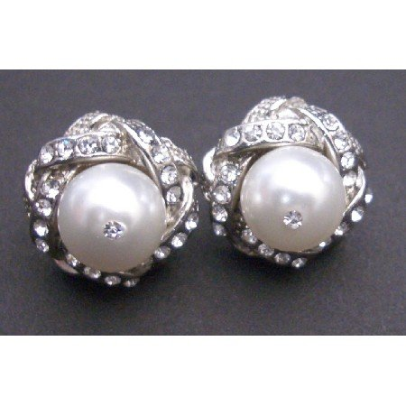 ERC520 Pure White Swarovski Pearls Stud Earrings Surrounded Simulated Diamond Pierced Earrings
