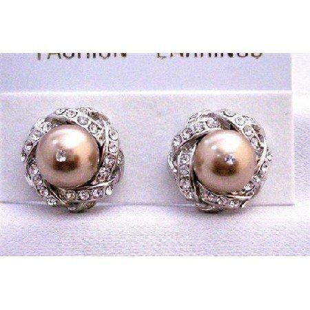 ERC513  Pearls Cubic Zircon Post Stud Earrings Swarovski Bronze Pearls Earrings