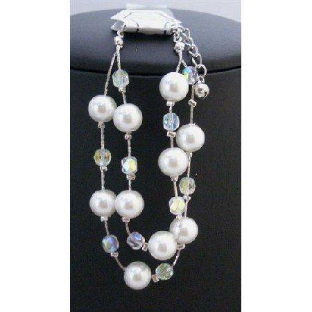 UBR019  Double Stranded Bracelet White Pearls Immitation Ab Crystals Beads Affordable Bracelet