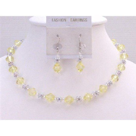 UNS053  Dainty Sleek Necklace Set Jewelry Set Lite Yellow Very Beautiful Color With Daisy Spacer