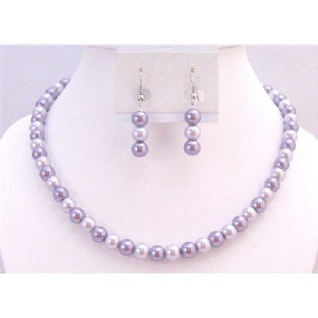 UNS054 Inexpensive Bridemaides Jewelry Set Light Lilac & Victorian Lilac Wedding Pearls Necklace Set