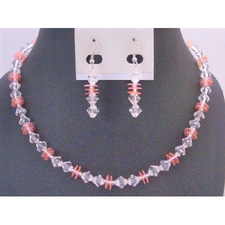 UNS056 Wedding Bridal Bridemaids Jewelry Set Clear Crystals w/ Peach Daisy Spacer Dainty Set
