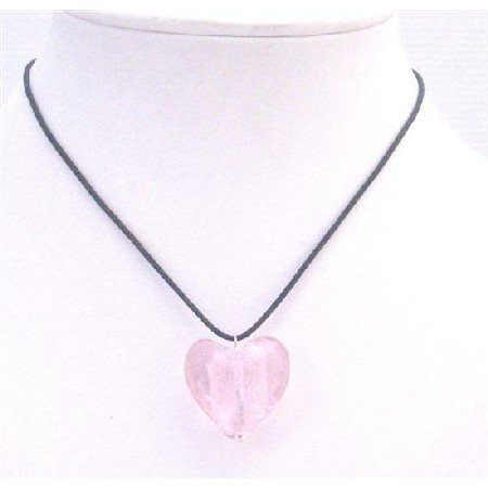 UNE172 Pink Murano Heart Pendant Jewelry Necklace Jewelry With Black Chord Jewelry