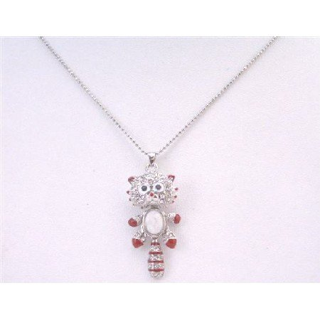 UNE177 Cat Pendant Enameled Red Movable Parts Stripes Tail Pendant Necklace