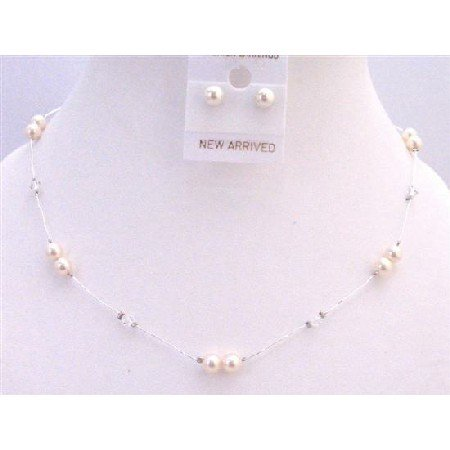 BRD930 Ivory Pearls Clear Crystals Swarovski Brand Accented In Silk Thread Necklace Set