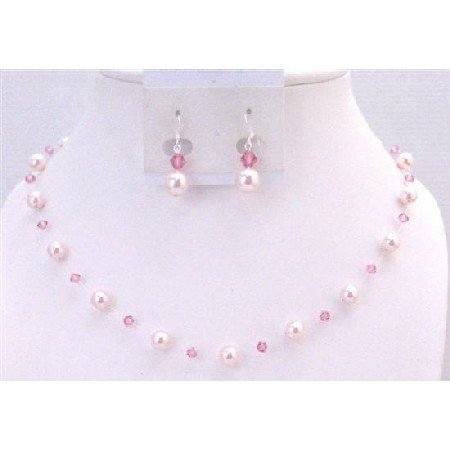 BRD904 Wedding Affordable Rose Pearls Rose Swarovski Crystals Bridemaids Jewelry Set