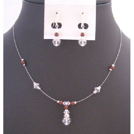 BRD926  Wedding Jewelry Bridemaides Swarovski Clear Crystals With Bordeaux Wine Pearls Necklace Set