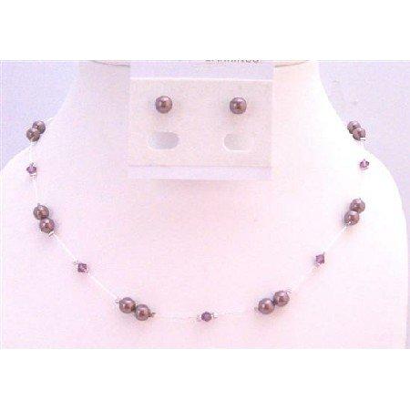 BRD931 Swarovski Burgundy Pearls Amethyst Crystals Accented In Silk Thread Necklace Set