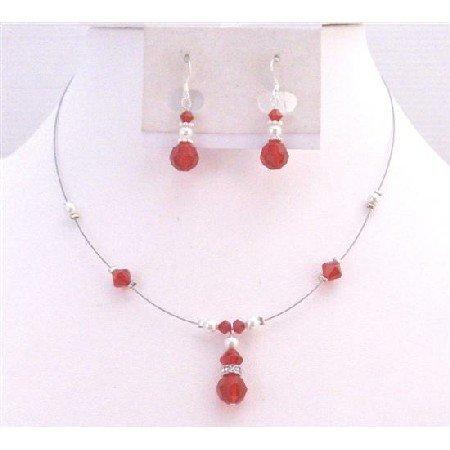 BRD925 Swarovski Lite Siam Red Crystals With White Pearls Necklace Set
