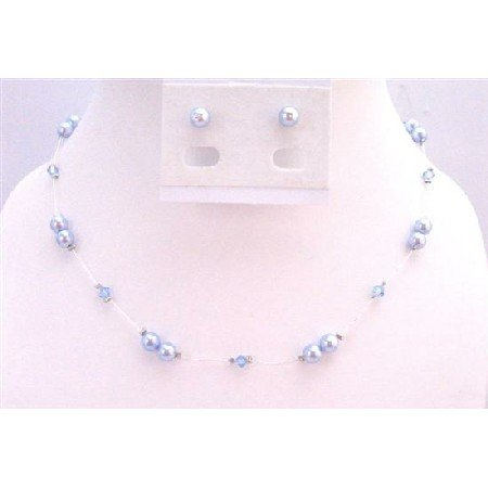 BRD932 Genuine Swarovski Blue Pearls Aquamarine Crystals Accented In Silk Thread Necklace Set