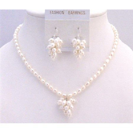 BRD897 Natural Color Rice Shaped Pearls Jewelry Set w/Bunch Of Grapes Pearls Pendant & Earrings Set
