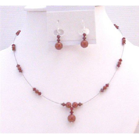 BRD971 Wine Pearls Red Bordeaux & Siam Red Swarovski Crystals & Pearls Bridemaids Jewelry Set