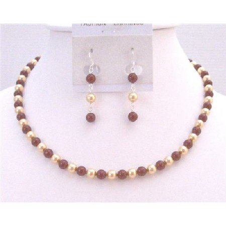 BRD910  Gold & Wine Pearls Swarovski Pearls Necklace Prom Gift Jewelry Set