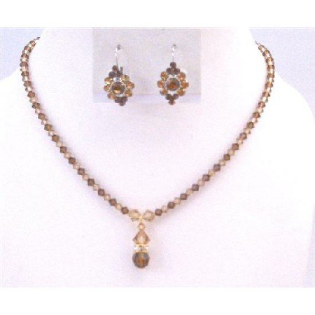 BRD893  Lite Colorado Genuine Swarovski Crystals & Smoked Topaz Drop Down Bridal Jewelry Set