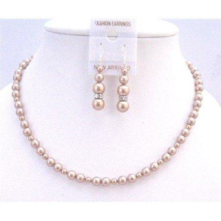 BRD967  Champagne Tiny & Big Pearls Swarovski Flower Girl Wedding Prom Jewelry