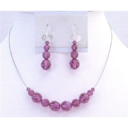 BRD891  Fuschia Crystals Jewelry Set Round Genuine Swarovski Fuschia Crystals Wedding Jewelry Set