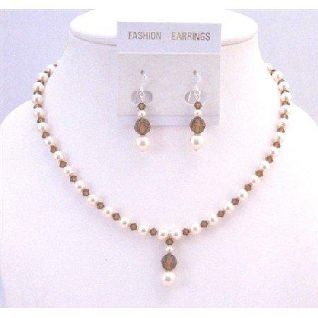 BRD901  Ivory Pearls Swarovski Jewelry Set Smoked Topaz Drop Down Bridemaids Necklace Set