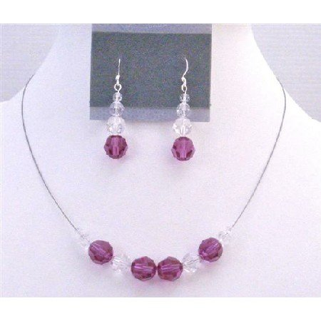 BRD890 Flower Girl Jewelry Of Swarovski Clear & Fuschia Crystals Round Crystals Necklace Set