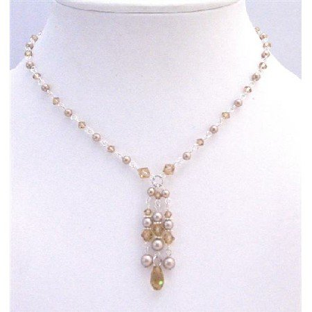 BRD896 Wedding Bridal Handcrafted Jewelry Champagne Pearls Lite Colorado Crystals Necklace Set