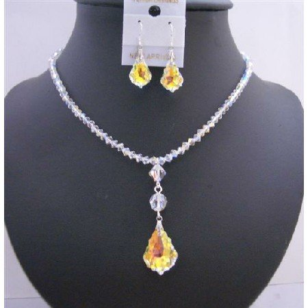 BRD949  AB Swarovski Crystals 4mm w/ AB Baroque Pendant Dangling Drop Down Necklace Set