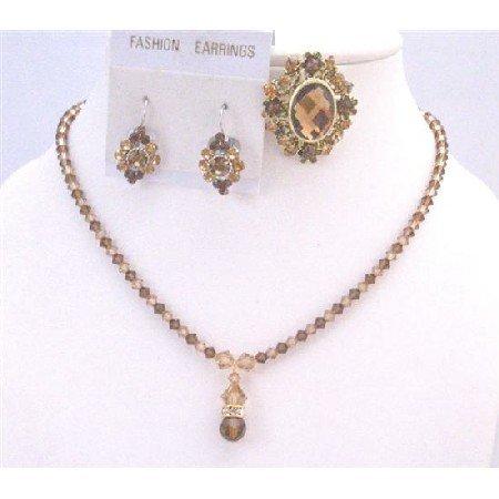BRD895 Necklace Set w/Matching Brooch Beautiful Color Of Lite Colorado Genuine Swarovski Crystals