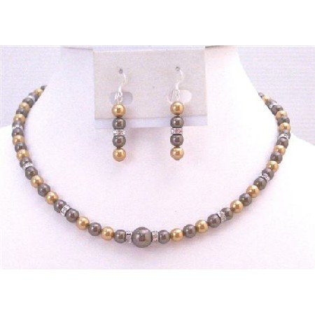 BRD907 Handcrafted Swarovski Pearls Jewelry Bright Gold & Brown Chocolate Pearls Jewelry Set