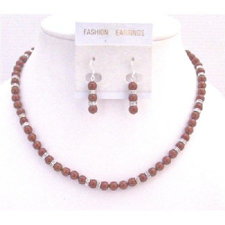 BRD916  Sparkling Diamond w/Red Pearls Necklace Set Match w/Cognac Dress Wine Pearls Jewelry Set