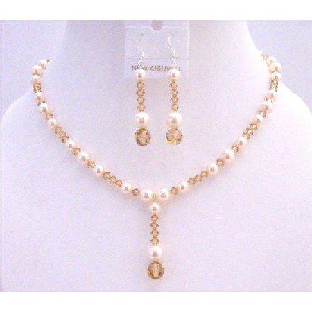 BRD945  Lite Colorado Swarovski Crystals w/Ivory Pearls Drop Down Fashionable Jewelry Set