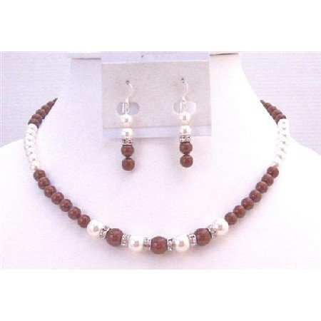 BRD912 Cognac Color Dress Bordeaux Wine & White Pearls Affordable Jewelry Set