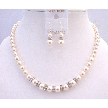 BRD946  Diamond Sparkling Rondells Ivory 8mm Pearls Necklace Set Wedding Set Handcrafted Jewelry Set