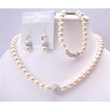 BRD943 Tiny Crust Simulated Diamond Ivory Pearls Necklace Earrings Bracelet Bridal Jewelry Set
