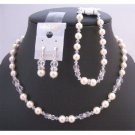 BRD941 Bridal Jewelry Set Ivory Pearls Clear Crystals w/Silver Rondells Necklace Set