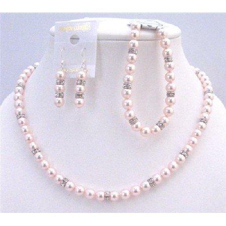 BRD934 Swarovski Rose Pearls Jewelry Set Gift Prom Flower Traditional Sleek Pink Pearls w/Bracelet