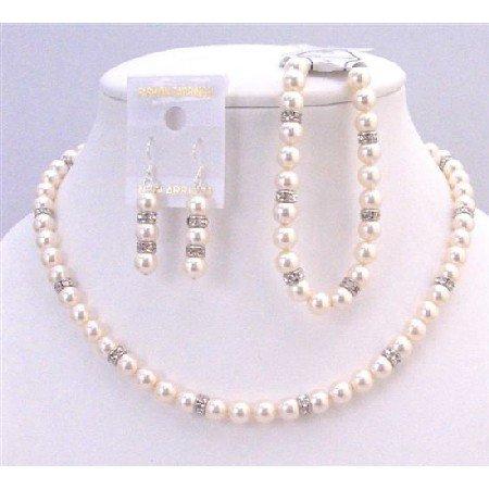 BRD935 Swarovski Pearls Jewelry Ivory Pearls Diamond With Bracelet Complete Set Diamond