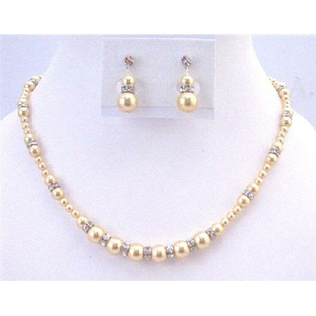 BRD938 Fine Jewlery Set Gold Pearls Light Gold Pearls w/Diamond Sparkling Rondells Spacer