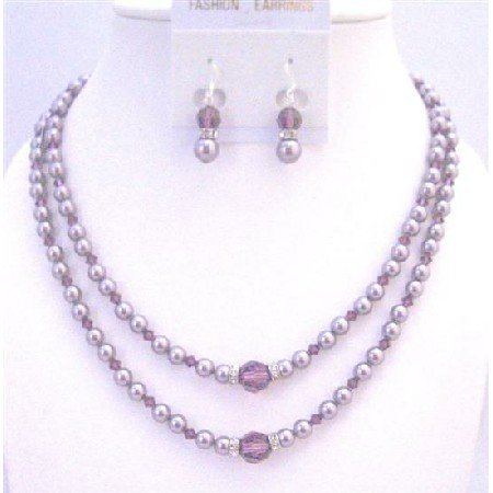BRD940 Silver Spacer Accented Double Stranded Necklace 6mm Pearls Bridemaids Bridal Wedding Jewelry