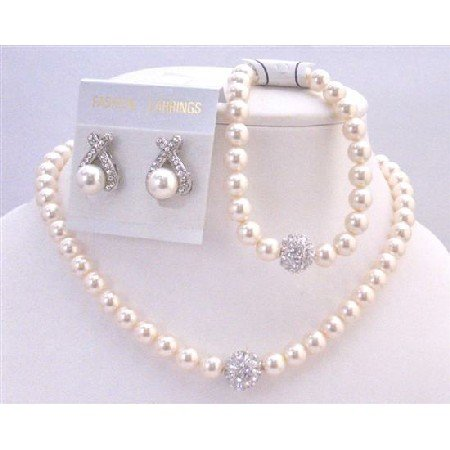 BRD898  Ivory Pearls Jewelry Complete Set w/Bracelet Sparkling Diamond Ball Beautiful Jewelry Set