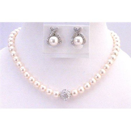 BRD899 Ivory Pearls Bridal Jewelry Set 8mm Pearls w/ Cubic Zircon Ball Pendant w/ Stud Earrings