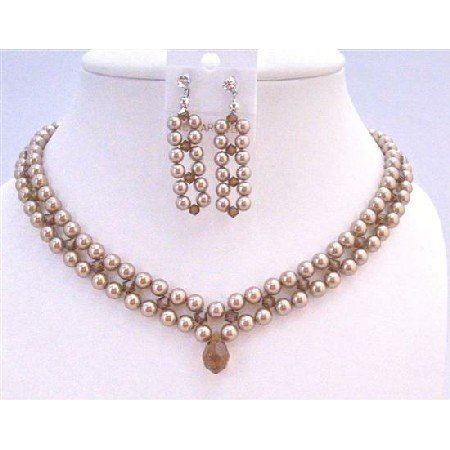 BRD959  Three Stranded Pearls w/Smoked Topaz Crystals Middle Stranded Necklace Set