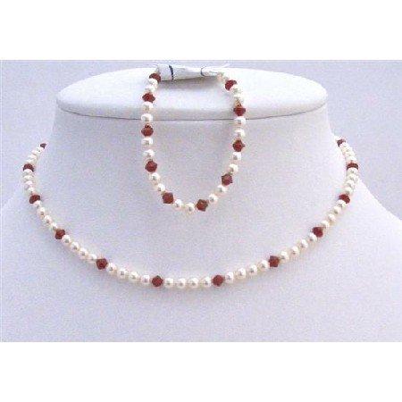 BRD966 Handmade Flower Girl Jewelry Swarovski Ivory Pearls w/Siam Red Crystals Wedding Jewelry