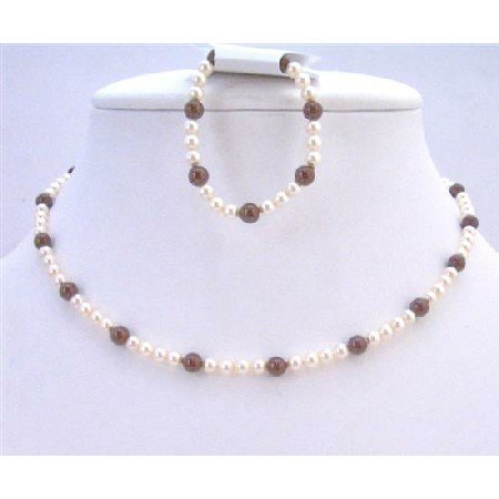 BRD964 Swarovski Ivory Pearls w/Maroon Pearls Wedding Flower Girl Pearls Necklace & Bracelet