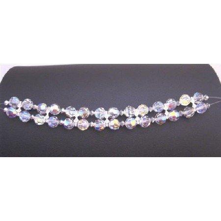 TB900 Comet Argent Crystals Bracelet w/ AB Crystals Round Crystals Bracelet Bridal Wedding Jewelry