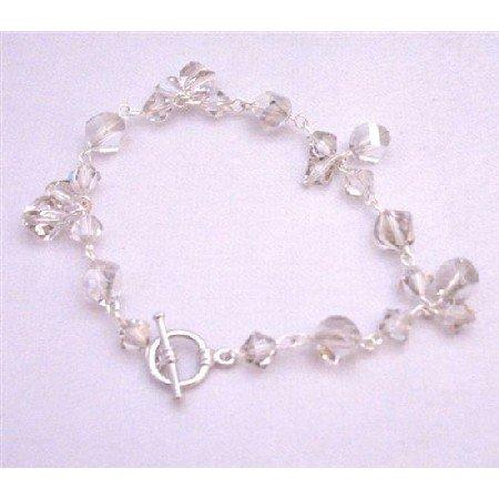 TB894  Swarovski Silver Shade Bracelet Different Shape Size & Shape W/ 8mm Helix Beads Jewelry