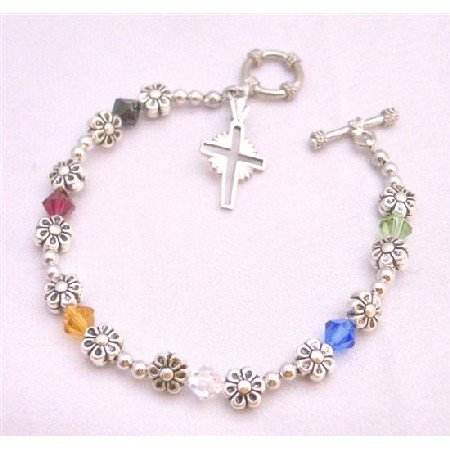 TB872 Austrian Crystals Ruby Jet Sapphire Topaz Peridot & Clear Crystals W/Cross Charm Bracelet