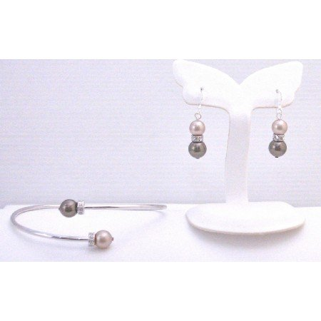 TB897 Wedding Colors Champagne & Brown Pearls w/Silver Rondells Spacer Comfortable Bracelet