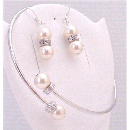 TB886 Matching Earrings w/Bangle Cuff Bracelet Comfortable Ivory Pearls Silver Rondells