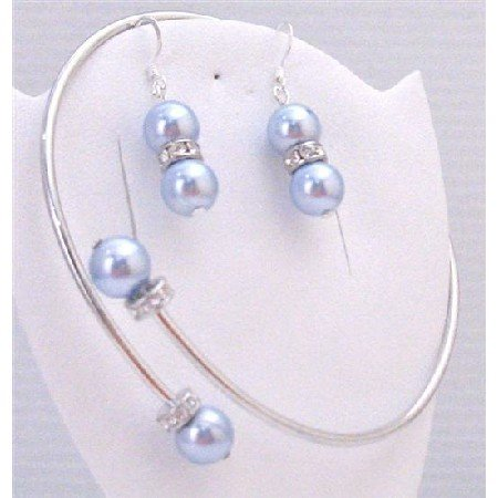 TB887  Blue Aquamarine Pearls Jewelry Bracelet & Earrings Set Cuff Adjustable Wrist Bracelet