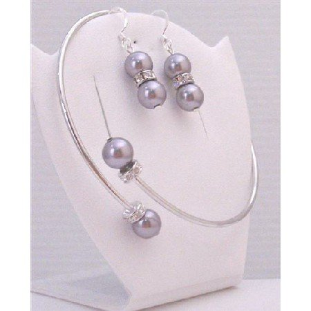 TB890  Bridemaides Jewelry Lite Purple Swarovski Pearls Bracelet & Sterling Silver Earrings